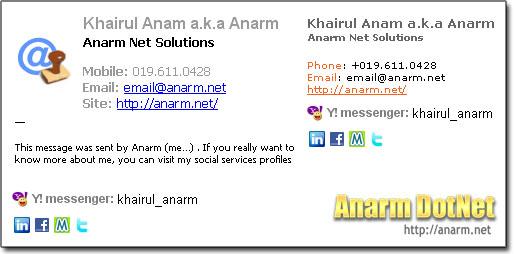 Anarm Email Signature