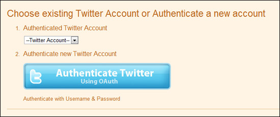 authenticate twitter to twitterfeed