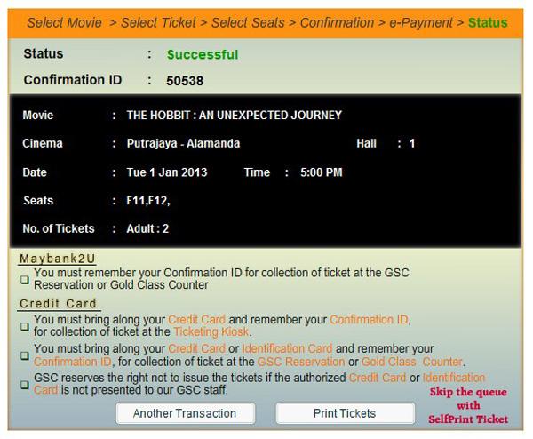 Tempah tiket wayang GSC online cerita The Hobbit