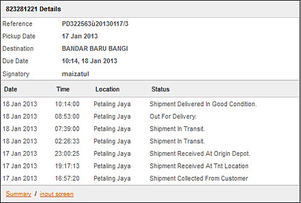 TNT Express hantar barang Superbuy