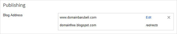 setting publishing custom domain blogspot
