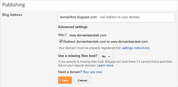 setting redirect custom domain blogspot