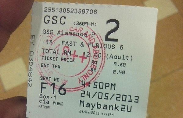 tiket wayang gsc fast & furious 6