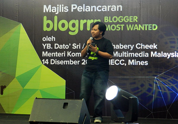 Tekong dari Amanz.my memberi talk di event blogrrr