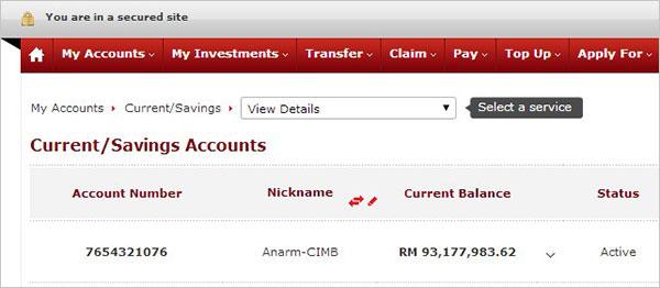 perubahan pada nombor akaun CIMB bank