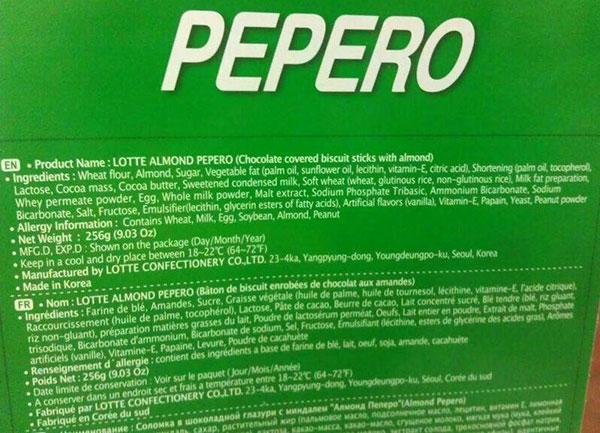 Kandungan bahan coklat Pepero