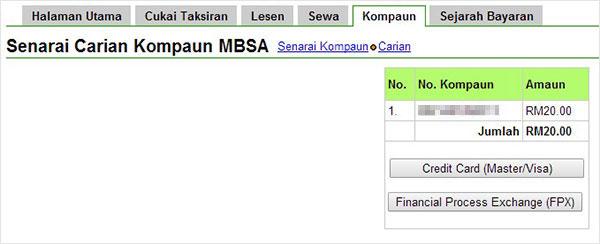 Bayar saman letak kereta MBSA secara online