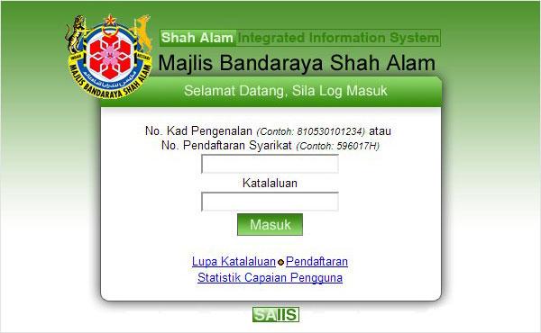 Login iBayaran Majlis Bandaraya Shah Alam