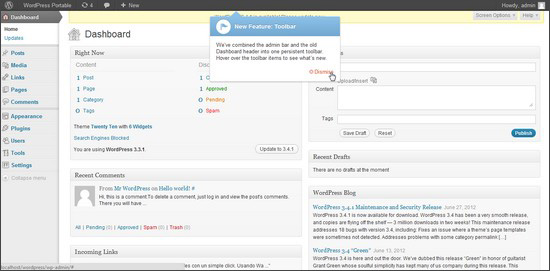 Paparan Dashboard Admin Blog WordPress