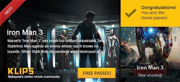 iron man 3 free passes klips.my
