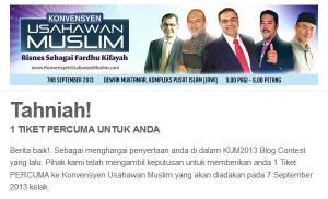 tiket percuma konvensyen usahawan muslim #kum2013