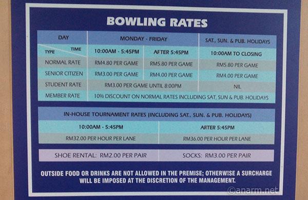 Harga bowling Plaza Alam Sentral