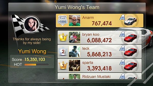 WeChat Speed All-Star Race team Yumi Wong