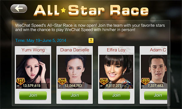 WeChat Speed All-Star Race berlumba dengan Selebriti Malaysia