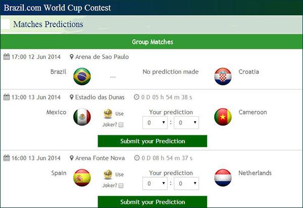 Ramalan perlawanan Piala Dunia FIFA 2014 Brazil
