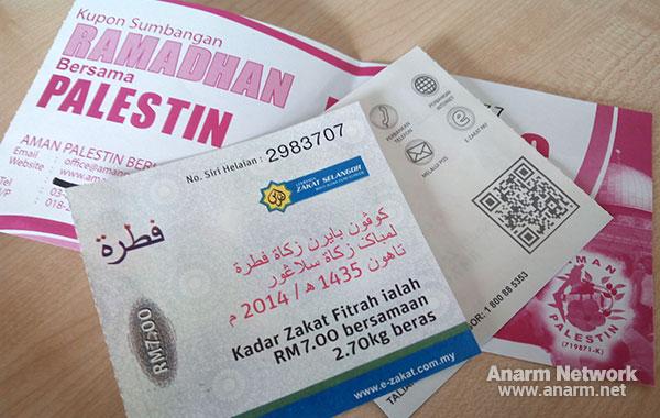 Bayar Zakat Fitrah Ramadhan dan Sumbangan Palestin