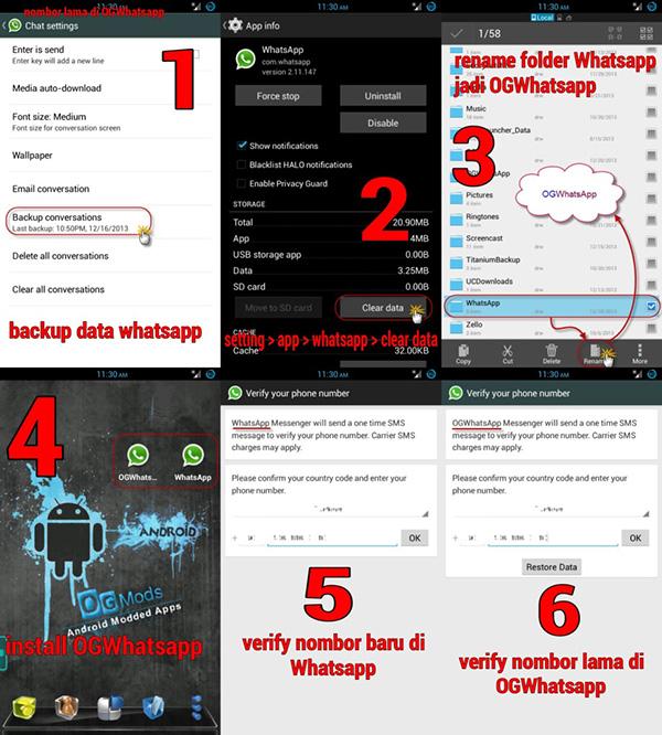 Nombor lama di OGWhatsApp dan nombor baru di WhatsApp original