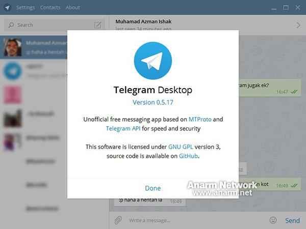 Aplikasi Telegram untuk desktop