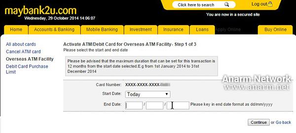 Aktifkan kad debit MasterCard Maybank