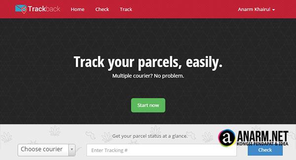 Trackback.my laman web untuk track barang yang dihantar