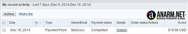 Komisen kedua Mobicow masuk akaun PayPal