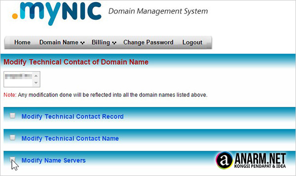 Modify nameserver MYNIC