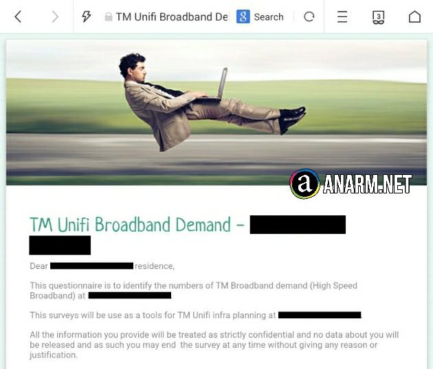 Borang kaji selidik TM Unifi Broadband Demand