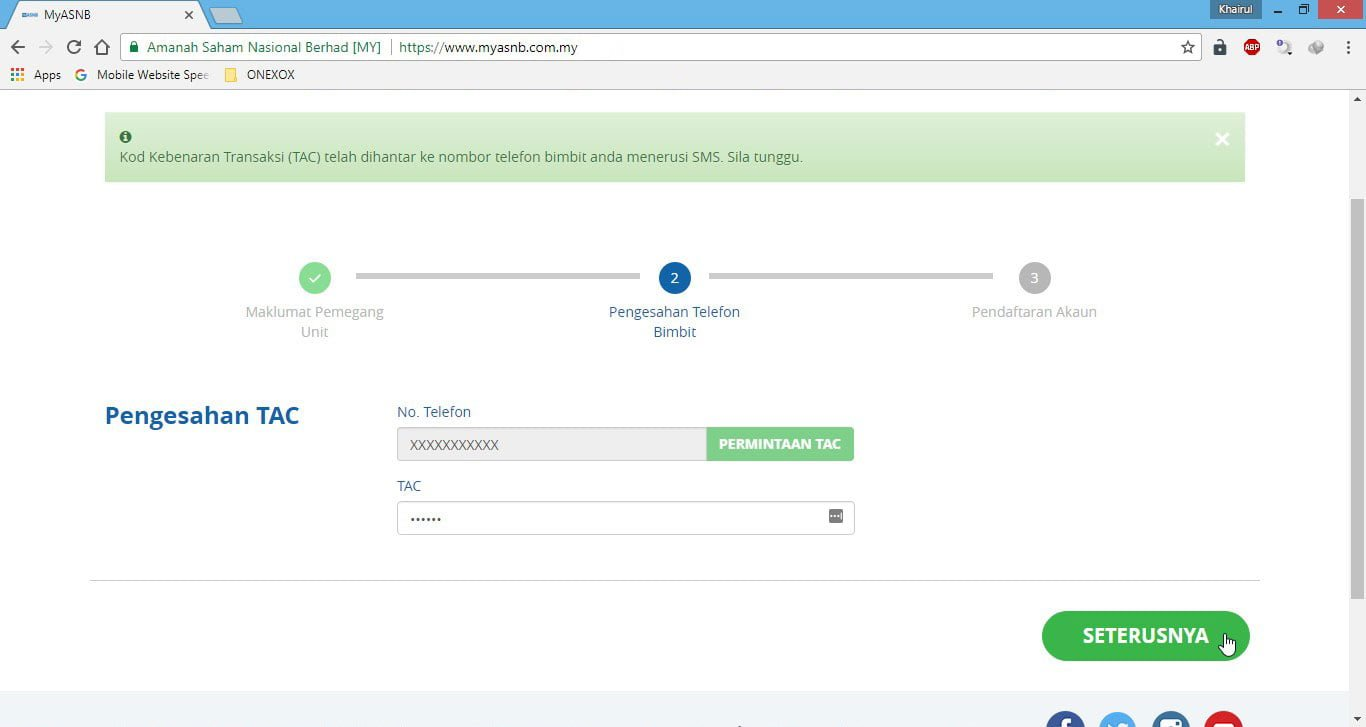 Pengesahan Kod Kebenaran Transaksi (TAC) Portal myASNB