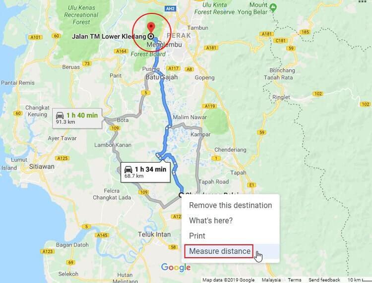 Ukur jarak pemancar MYTV menggunakan Google Maps