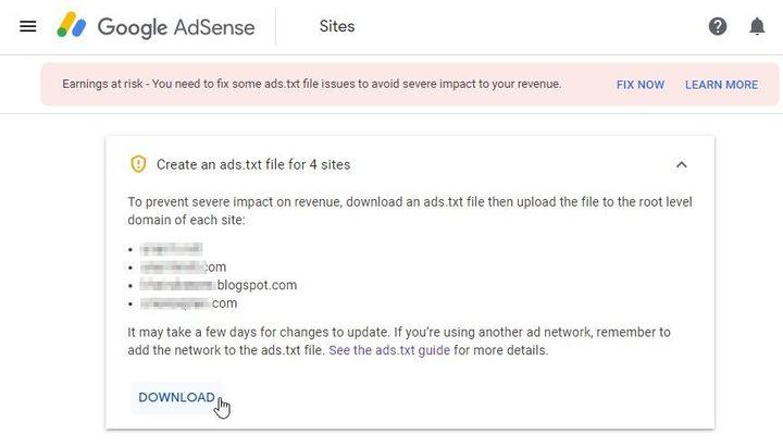 Senarai domain perlu diletak ads.txt Google Adsense