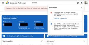 Earnings at risk - Google Adsense