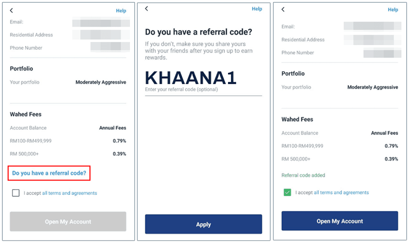 Wahed Invest referral code KHAANA1