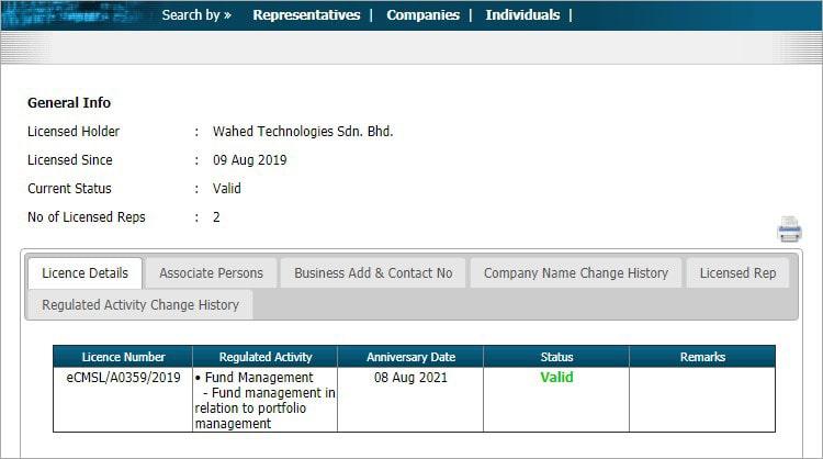 Wahed Invest lesen Suruhanjaya Sekuriti Malaysia (SC)
