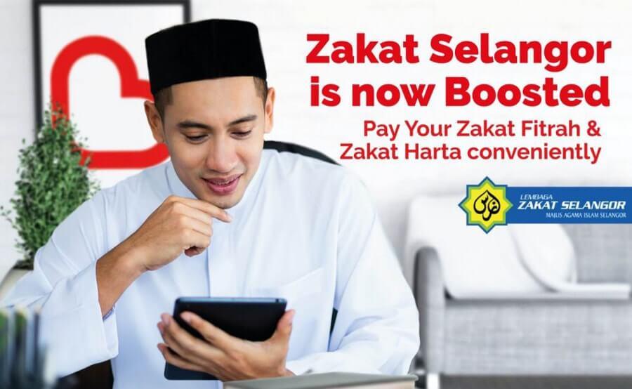 Bayar zakat fitrah secara online melalui Boost eWallet
