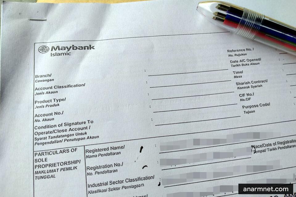 Borang daftar akaun perniagaan Maybank