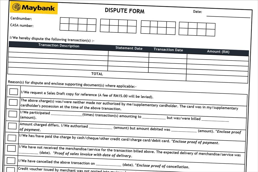 Maybank Dispute Form