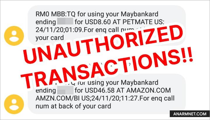 Maybank unauthorized transaction debit card
