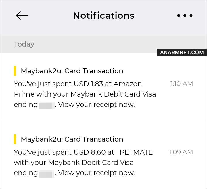 Unauthorized transactions dari kad debit Maybank