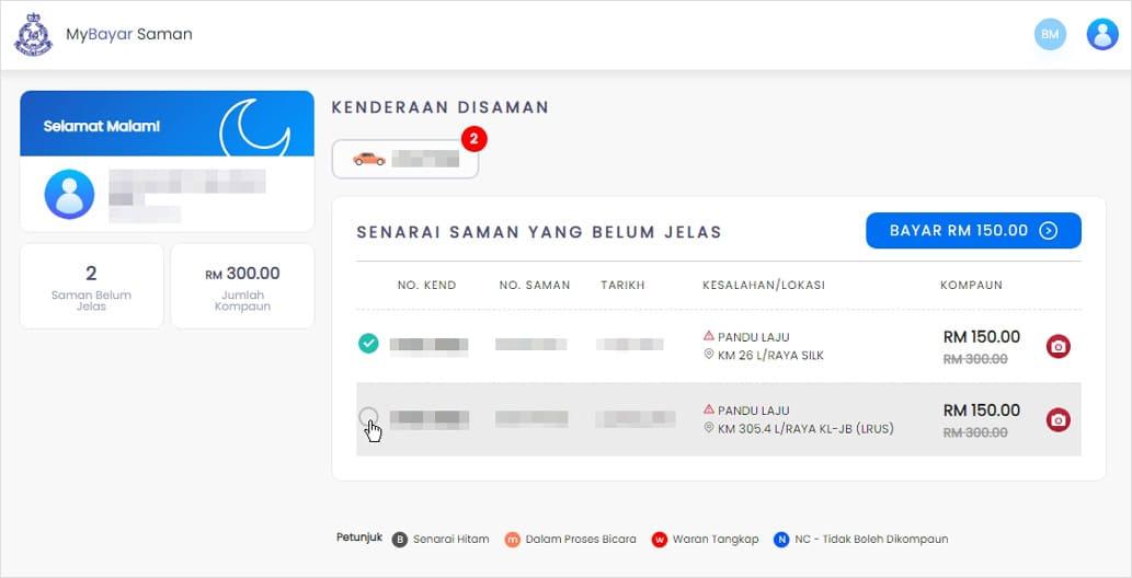 Bayar saman melalui portal MyBayar Saman
