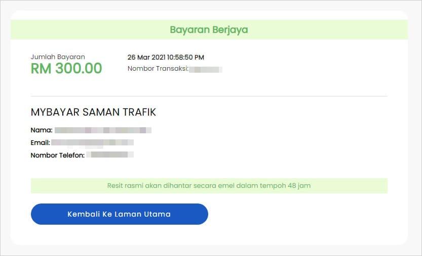 Status pembayaran MyBayar Saman Trafik